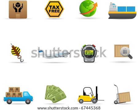 19 Logistics Icons Set Professional vector set for your website, application, or presentation. The graphics can easily be edited colored individually and be scaled to any size - stock vector