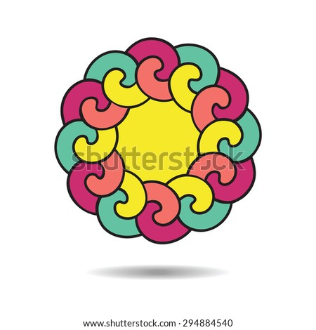 Logo design template. Colorful round frame on white background.