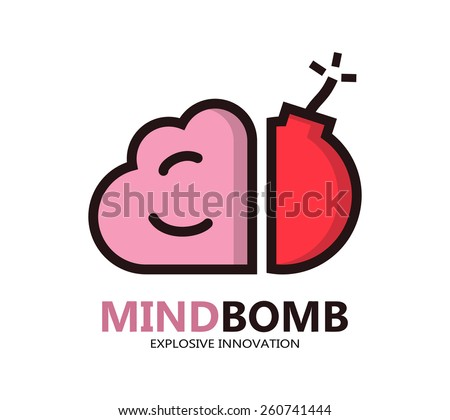 Logo with a combination of brain and bomb - stock vector