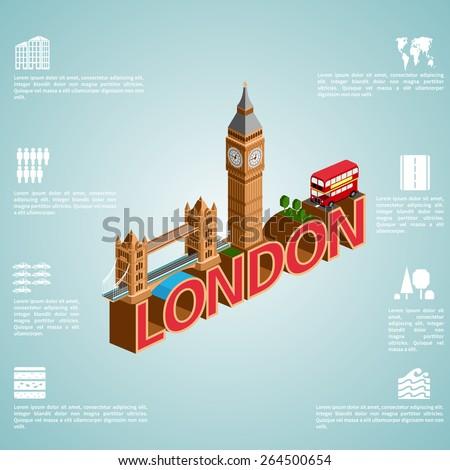 London. Set of detailed isometric vector. English bus, Tower Bridge and Big Ben. Infographics EPS 8. - stock vector