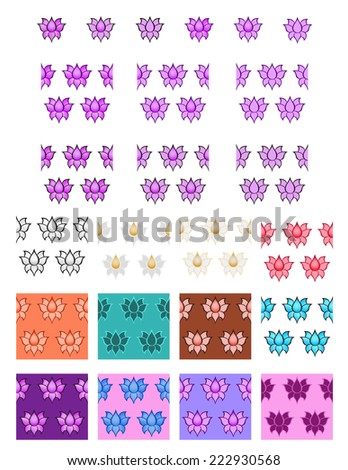 24 Lotus Seamless  Vector Patterns eps 10 - stock vector