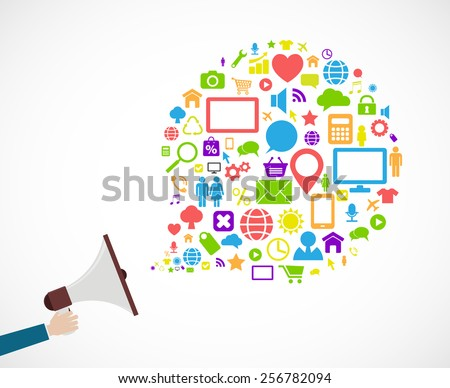 loudspeaker social media icon concept design - stock vector