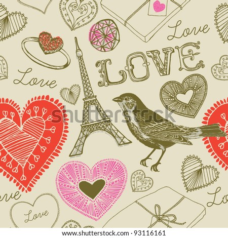 love bird seamless background - stock vector