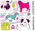 love Dogs! vector doodles set - stock vector