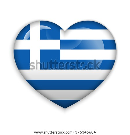 Love Greece.  Flag Heart Glossy Button - stock vector