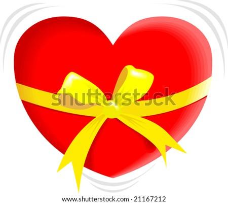 love symbol in yellow ribbon - stock vector