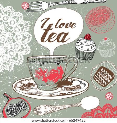 love tea card - stock vector