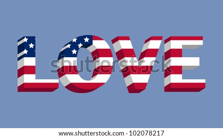 Love text with American flag illustration