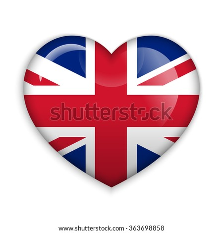 Love United Kingdom.  Flag Heart Glossy Button - stock vector