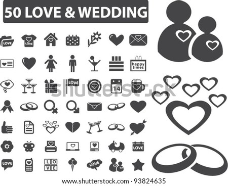 50 love & wedding icons set, vector illustrations - stock vector