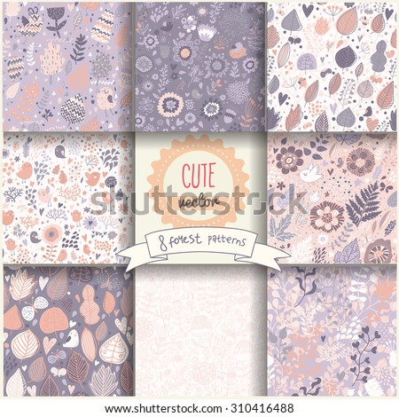 9 lovely seamless patterns. Cartoon floral natural backgrounds in vector. Seamless pattern can be used for wallpapers, pattern fills, web page backgrounds,surface textures. - stock vector
