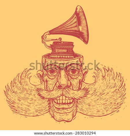 lucky dude with mustaches, sidewhiskers and gramophone on his head. engraving style. vector illustration - stock vector