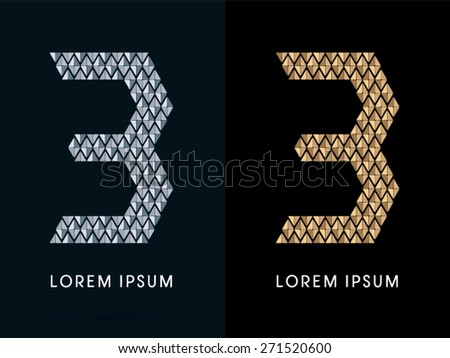 3 ,Luxury Abstract Jewelry Number, font, designed using gold and silver colors geometric shape on dark background, sign ,logo, symbol, icon, graphic, vector.