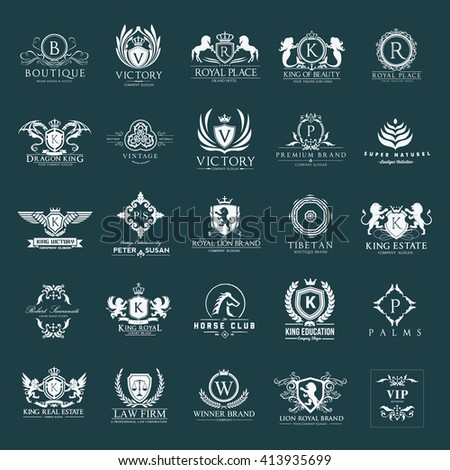 Luxury logos set business sign restaurant stock vector for Boutique hotel logo
