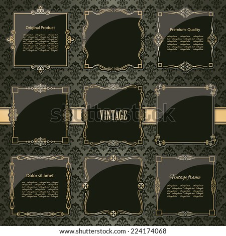 Luxury vintage frames and labels set in dark chocolate brown and golden colors on damask. - stock vector