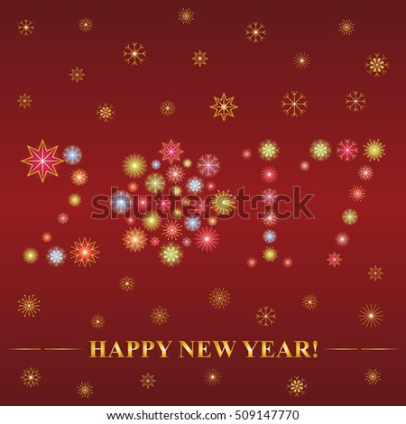 2017 made of snowflakes. Hand Drawn Colorful Shinning Snowflakes arranged in shape of 2017 on Dark Red with Golden Falling Snowflakes. Perfect for Festive design. vector illustration.