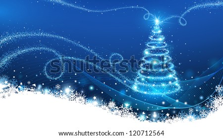 Magic Christmas Tree Christmas Background Stock Vector 117600175 ...