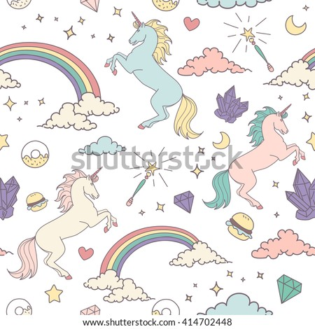 Magic seamless pattern with unicorn, rainbow, stars and crystals  - stock vector