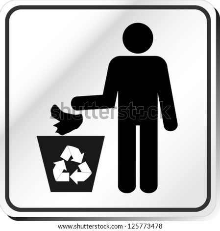man and recycled bin