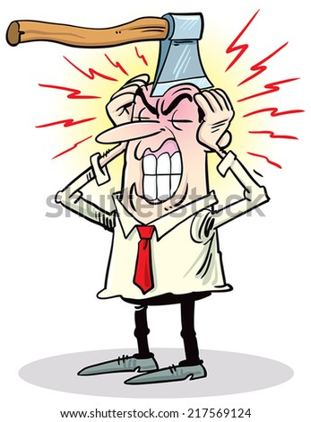 Man complaints about headache - stock vector