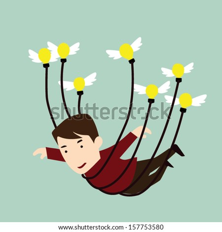 Man flying away with the help of a blubs - stock vector