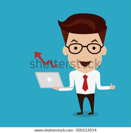 Man hold Laptop with Increasing graph illustration - stock vector