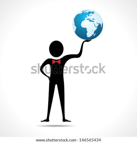 Man holding a globe stock vector