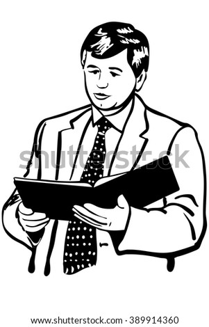 man in a jacket and tie reading reports