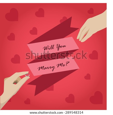 man is presenting engagement ring to girlfriend. - stock vector