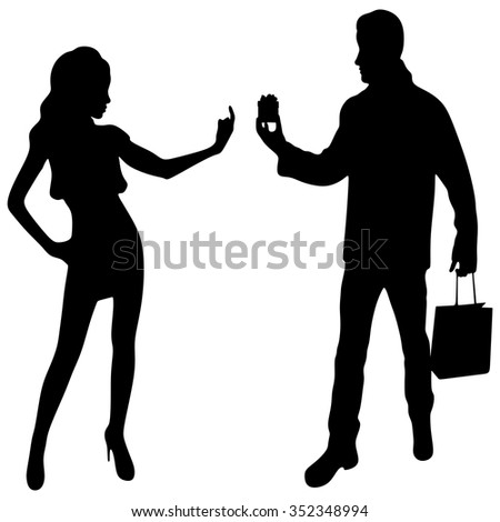 man proposing to a woman - lady - stock vector