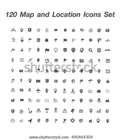 120 Map and Location Icons set