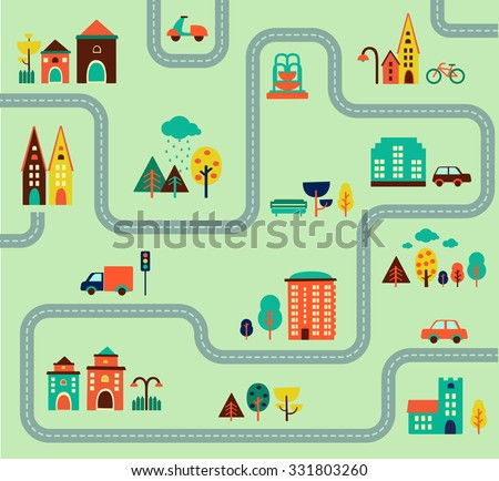 map city illustration, elements for infographic, icon, set, web, buildings, forest, cars, road, vector illustration, design - stock vector