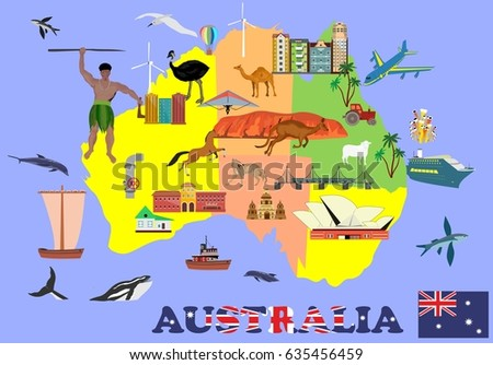 Map australia infosgraphic vector elements country stock vector hd map of australia infosgraphic vector elements of the country showing culture and places of gumiabroncs Image collections