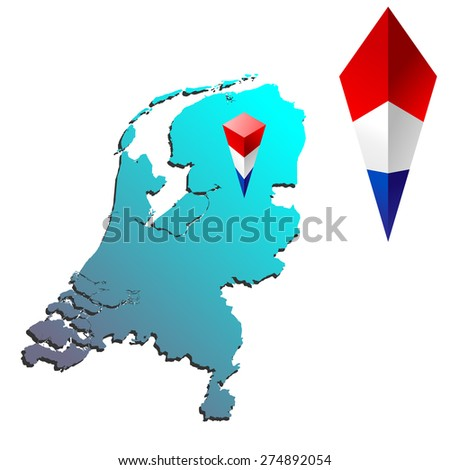 map of Netherlands with pyramid flag