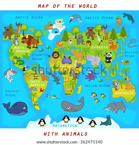 map of the world with animals - vector illustration, eps