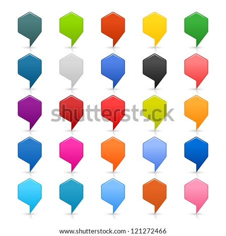 25 map pin icon location pointer sign. Empty rounded hexagon button in popular satined colors on white background. Simple modern style. This vector illustration web internet design element in 8 eps