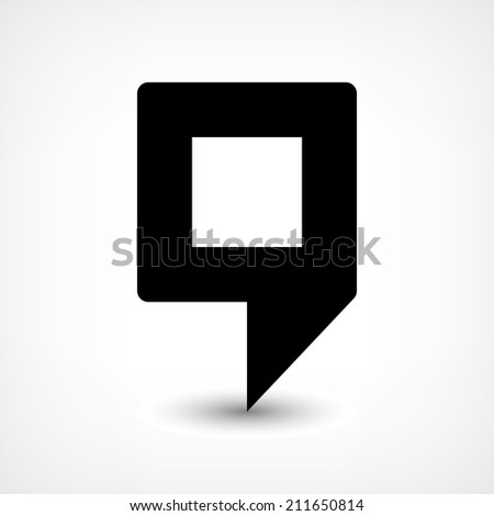16 map pins sign location icon with ellipse gray gradient shadow in flat simple style. Black rounded square shapes on white background. Vector illustration web design element save in 8 eps - stock vector