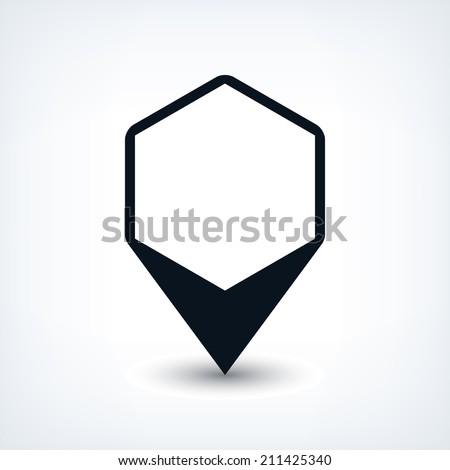 16 map pins sign location icon with oval gray shadow in simple flat style. Black rounded hexagon shapes on white background. Vector illustration web design element save in 8 eps - stock vector