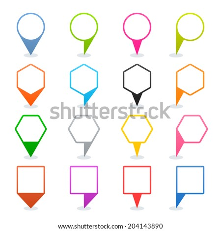 16 map pins sign location icon with oval shadow in flat style. Set 03. Blue green pink orange gray black yellow brown violet colored shapes on white background. Vector illustration element in 8 eps - stock vector
