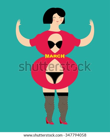 8 March. Figure of  girl as number 8. Beautiful Lacy black lingerie. International womens day. Womans body-eight. - stock vector