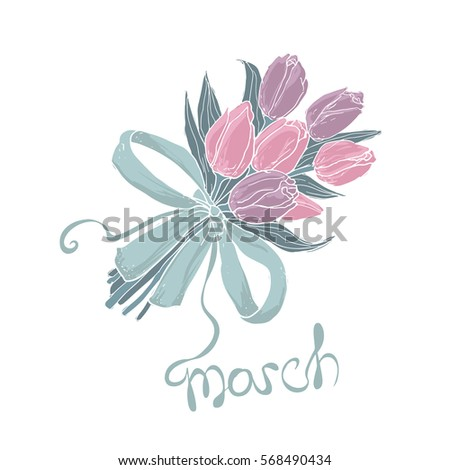 8 March greeting card. Women's Day design template with flower bouquet.