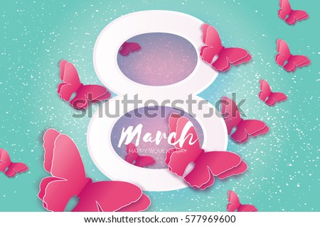 8 March. Happy Mother's Day. Paper cut Pink Wild Butterfly and white Eight. Beautiful Origami insect holiday background. Nature Greeting card. Happy Women's Day. Vector illustration