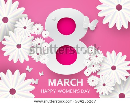 8 march happy mothers day white stock vector 584255269 shutterstock happy mothers day white paper cut floral greeting card origami flower mightylinksfo