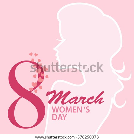 8 March international women day with lady silhouette and pink heart with text background for card. vector illustration.