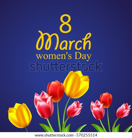 8 March International Women's Day bouquet of beautiful tulips