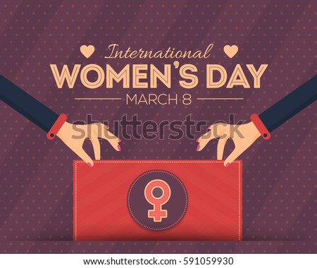 8 March International Women's Day Flat Style Background, Hands Hold Signboard
