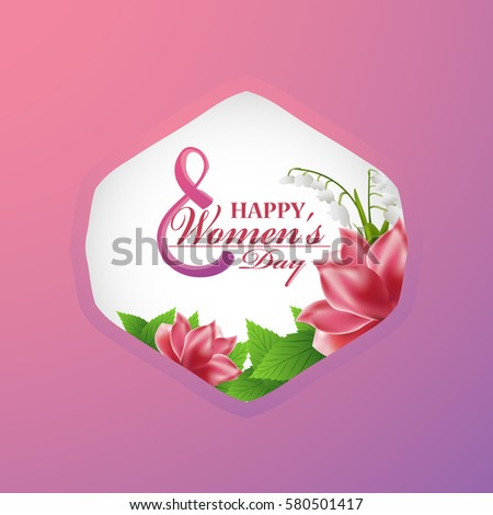 8 March International Women's Day greeting card with a beautiful bouquet of flowers