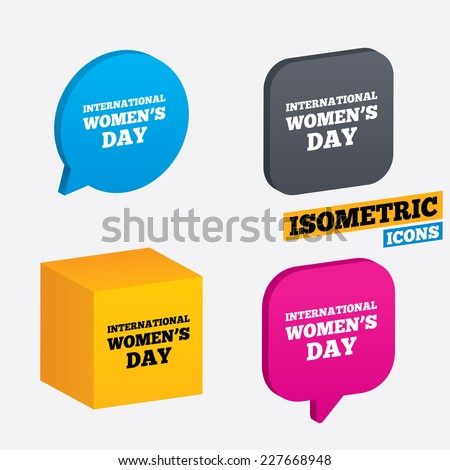 8 March International Women's Day sign icon. Holiday symbol. Isometric speech bubbles and cube. Rotated icons with edges. Vector - stock vector