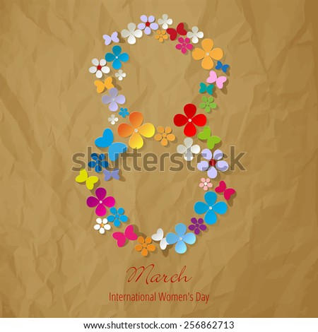 8 March international Women's Day Symbol color on crumpled paper brown background