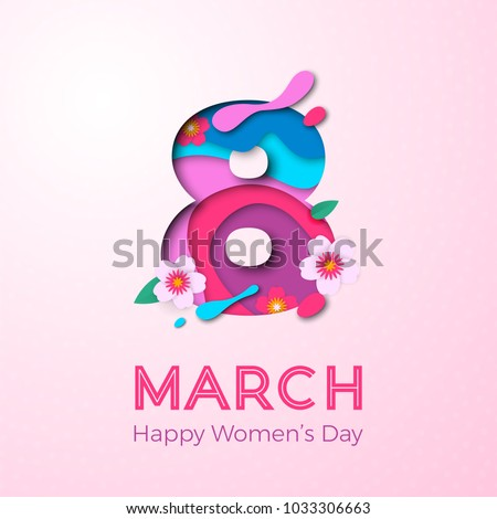 8 March papercut illustration for International Women's Day card. Vector paper cut number Eight with cherry blossom on elegant pink background. Trendy modern women's day greeting card template